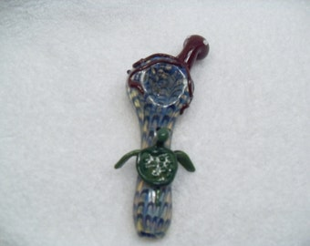Turtle and Octopus Spoon - medium/large spoon pipe with attached glass creatures