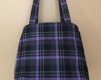 Beth#78, Purple and Black Tote, Large Project Tote, Knitting Project Bag, Checkered Project Bag, Crochet Tote, Knitting Bag, Yarn Bag, Totes
