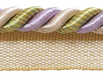 """10 Yard Value Pack Medium Lilac Gold  Baroque Collection 5/16"""" Cord With Lip Style# 0516bl Color  Winter Lilac - 8426 (30 Ft / 9 Meters)"""