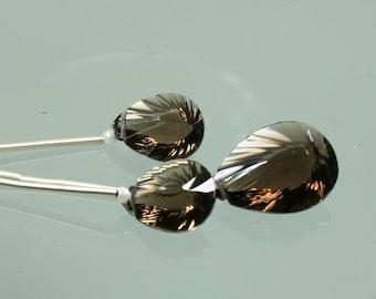 AAA Smoky Quartz Concave Cut Pear Briolettes