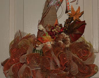 Scarecrow Hat, Fall Hat Wreath/ Door hanger