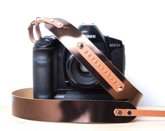 Camera strap metallic with personalization DSLR strap with monogram DSLR camera strap Nikon camera strap.