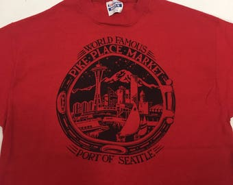 SEATTLE PIKE PLACE Market T-shirt Red Vtg 88' 100% Cotton Made in Usa