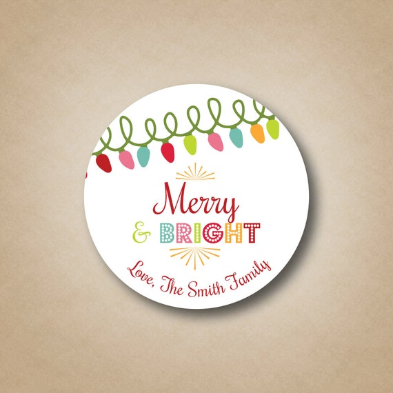 Merry bright christmas gift labels personalized christmas stickers merry bright christmas gift labels personalized christmas stickers custom holiday gift tag bright modern christmas sticker christmas light from solutioingenieria Choice Image