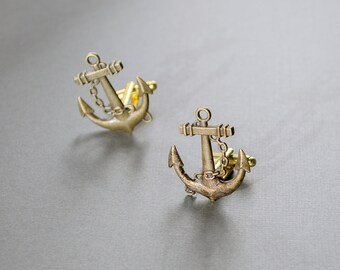 Men's Cufflinks Brass Anchor Cufflinks Steampunk Cufflinks Men's Accessories Antique Brass Vintage Style Statement Cufflinks