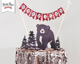 Personalized Cake Topper - Baby Bear Lumberjack // INSTANT DOWNLOAD // Lumberjack Birthday Decorations // Buffalo Plaid // Printable BP09