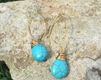 Wire-Wrapped Turquoise Howlite Marquise Drop Earrings