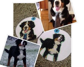 the Bern(er) custom Bernese Mountain Dog  - hand-painted earrings