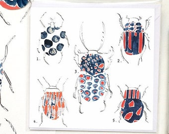 Colourful beetle illustration, blank all purpose greetings card