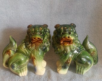 Foo Dogs - A Pair - Shi Shi Dogs - Asian Foo Dogs