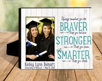 Graduation photo frame   inspirational graduation gift   braver stronger smarter   personalized graduation picture frame gift  MFG-004-frm