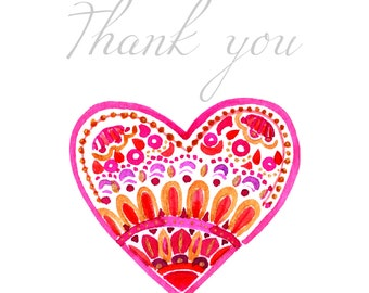 Thank You Card With Pink Heart - 4x5.5 size -  comes w/ envelopes