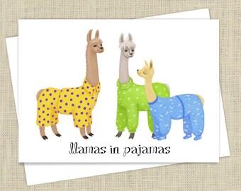 Llamas in Pajamas Greeting Card