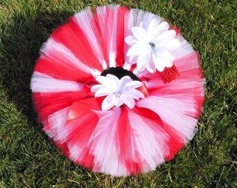 Valentine Tutu - Custom Sewn 8'' Red White Infant Tutu - For 1st Birthdays and Baby Shower Gifts - sizes newborn up to 5T