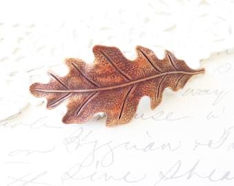 Golden Copper Oak Leaf Hair Barrette - Oak Leaf Barrette - Woodland Hair Accessory - Whimsical - Nature - Bridal Hair