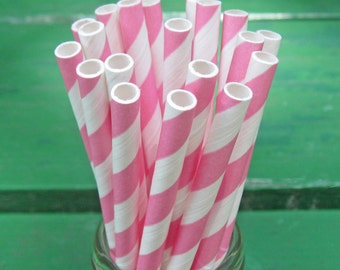 Pink Paper Straws, 25 Pink Party Straws, Pink and White Straws, Striped Paper Straws, Party Supplies, Craft Supplies, Birthday, Shower Party