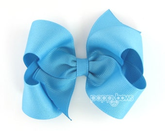 Modern Turquoise Hair Bow - 4 Inch Classic Boutique Hairbow - Baby Toddler Girl - Blue Solid Color Basic Hairbows