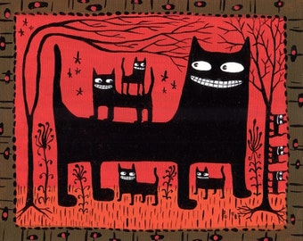 Whimsical Black Cats Art Print - Red Folk Art - 5x7