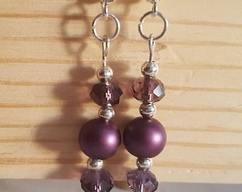 Preciosa Purple Glass Beaded Shepherd Hook Earrings