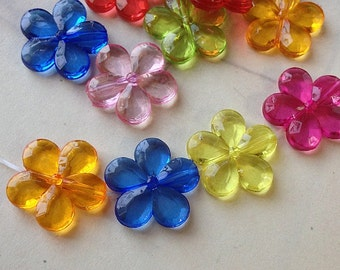 20 mm Flower Shape Resin Acrylic Beads of Assorted Colors (.maig)