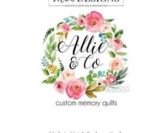 Wreath Logo, Flower Logo, Round Logo, Floral Logo Watercolor Logo, Business Logo Premade Logo, Custom Logo Design, Round Logos, Wedding Logo