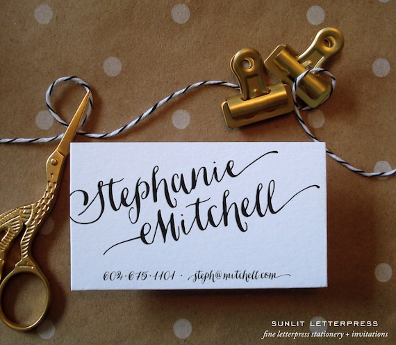 Custom business cards custom calligraphy business card like this item reheart Gallery