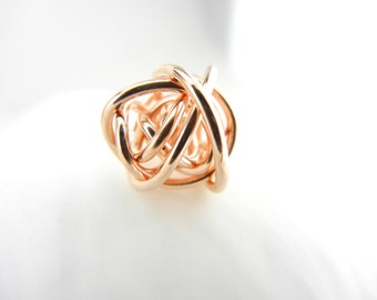 READY TO SHIP- Rose Gold Fill  Love Knot Necklace with Sterling Silver Chain