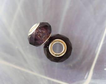 Purple lampwork charm bead