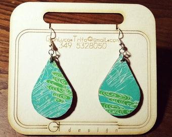 Wooden pendant earrings, laser cutting, decoupage