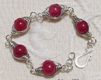 Red Herringbone Bracelet / Jewelry / Link Bracelet / Wirework / Women's Fashion / Herringbone / Ladies's Gifts / Silver Bracelet / Red