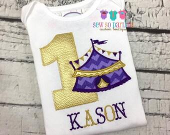 purple and gold 1st Birthday Circus Shirt - Circus Birthday Shirt - Baby Boy Circus Birthday Outfit - first Birthday shirt boy
