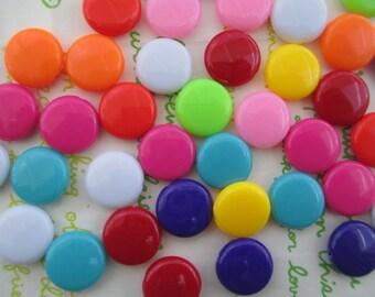 Flat Round Colorful acrylic beads 14mm 20pcs RANDOM mix