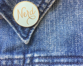 Nerd Enamel Pin. Gold Nerd Lapel Pin. Nerd Flair. Gold Hard Enamel Pin. Cloisonne pin.