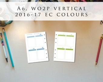 A6 planner inserts - week on 2 pages (WO2P), vertical, Mon-Sun, 2016/17 EC colours, pre-punched (A6.4)