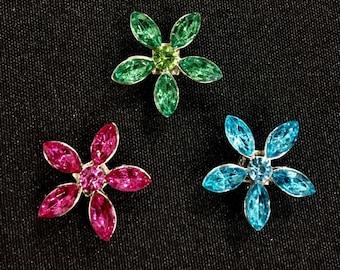 Rhinestone flower shoelace charms