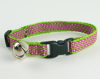 Kitty Cat Collar Hand Woven Breakaway Kitten Collar Lime Pink Flower Stripe