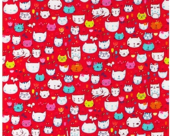 HALF YARD - Tiny Story - Cat Doodles on Raspberry Red - Kokka - Cat Face, Head, Smile, Flower - Japanese Imported