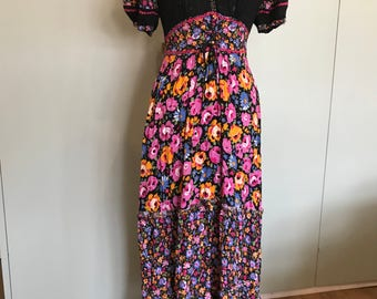 70s Floral cotton maxi dress