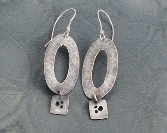Modern, Geometric Sterling Silver Earrings - Oval and Square Hammer Textured Dangle Statement Earrings