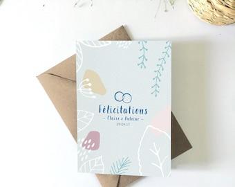 Card customizable wedding congratulations greeting card illustration, wedding stationery, vegetable card, flowers