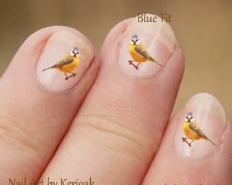 Bluetit Nail Art, Bird Nail Art Stickers, vingernagel stickers, Blue Tit Nail Art stickers, Mees, vogel vrij vinger nail art, stickers