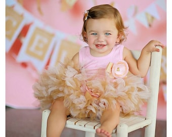 Gold Pink Birthday Outfit Girl | Birthday Outfits 1st Birthday Outfit First Birthday Outfit Cake Smash Outfits Birthday Tutu Dress Baby Girl