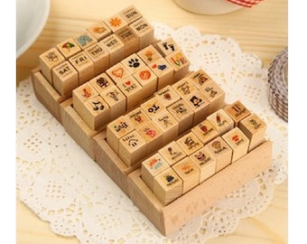 Cute DIY Crafts Wooden Rubber Diary Stamp Set - 4 designs