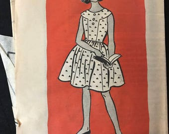Marian Martin 9228 - 1950s or 60s Dress with Seamed Bodice and Flared Knee Length Skirt - Size 14 Bust 32