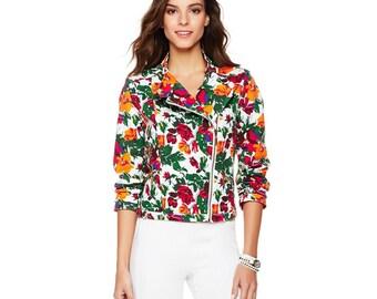 Floral demin embroidered jacket blank