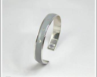 Silver plated Bangle plain Pamela gray bracelet