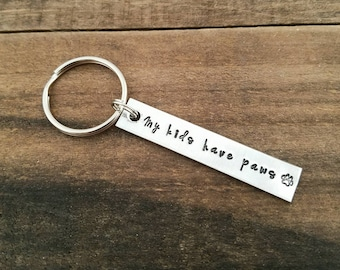 My Kids Have Paws Keychain - Pet Mom Gift - Animal Lover - Dog Mom - Cat Mom