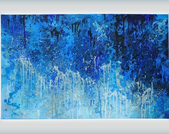"""Large Abstract Blue Painting. 48"""" x 30"""" acrylic on stretched canvas, 1.5"""" deep."""