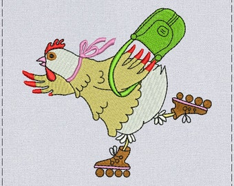 Chicken with handbag machine embroidery design