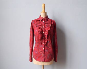 1990s cotton paisley ruffle blouse | size small | red paisley | Ralph Lauren
